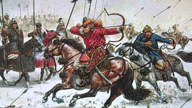 "A Mongol warrior demonstrates the famed ""Parthian shot"" - fired in reverse while riding away from the enemy"