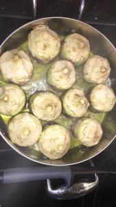 Artichokes in the pan