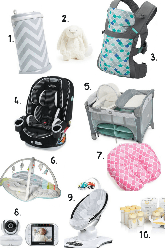 13d5b84e8d9dd Convertible Car Seat (this is a great infant one!) | 5. Pack n Play or  bassinet | 6. Playmat 7. Boppy | 8. Baby Monitor | 9. Baby Swing | 10.  Bottles
