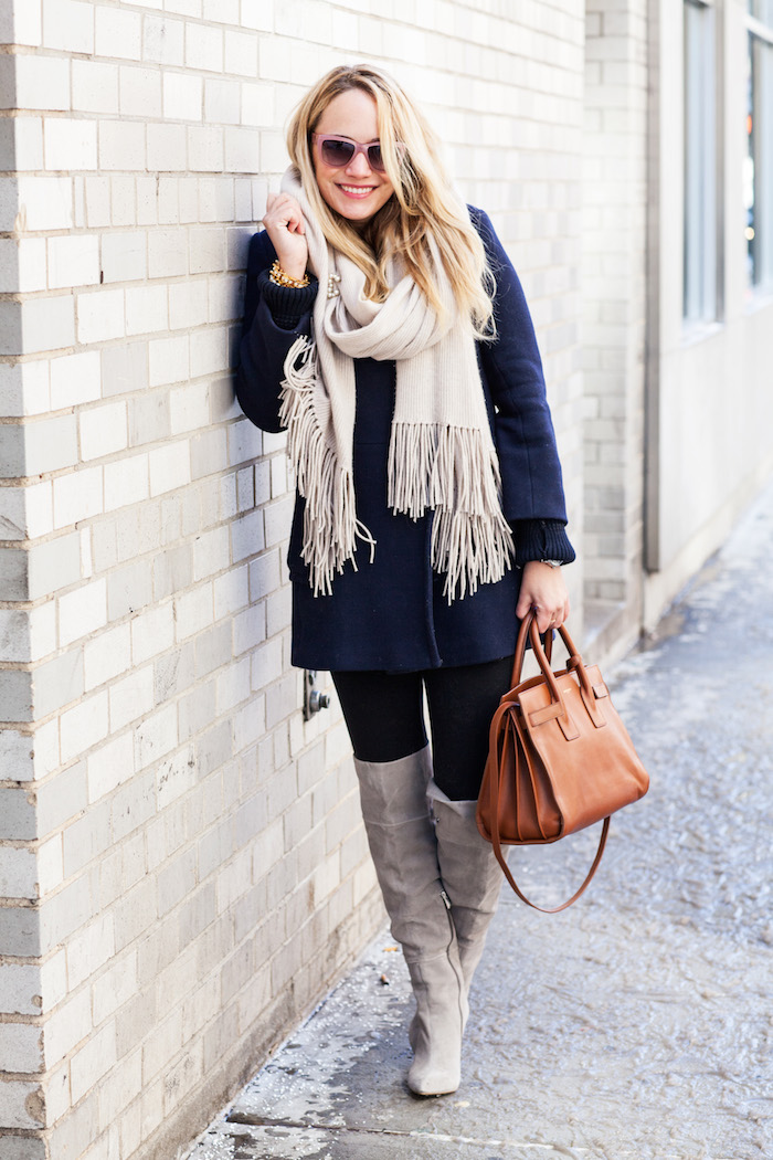 J.Crew Coat // Margaret Elizabeth Scarf // Express Leggings / Chinese Laundry Boots // Saint Laurent Bag