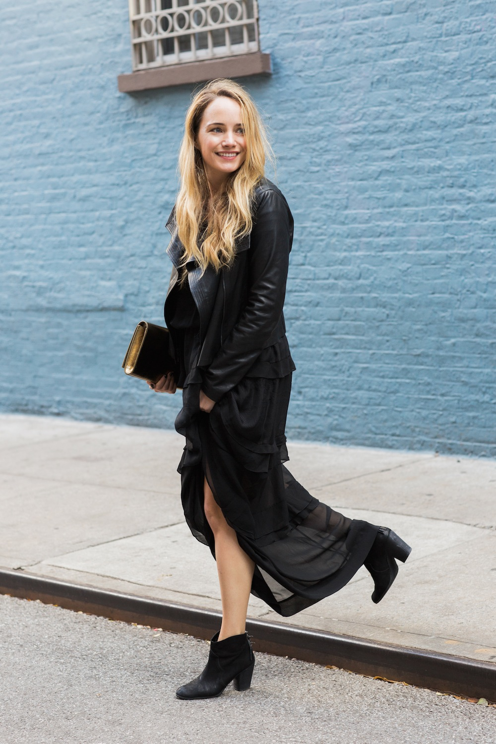 by malene birger silk maxi dress with vince leather jacket and saint laurent gold clutch - the stripe