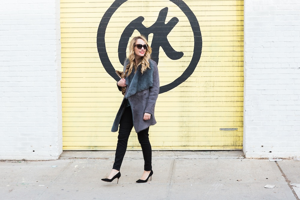haute hippie draped crossover top, tahari shearling jacket, clare v leopard clutch, spanx jeans, manolo blahnik bb pumps - grace atwood, the stripe