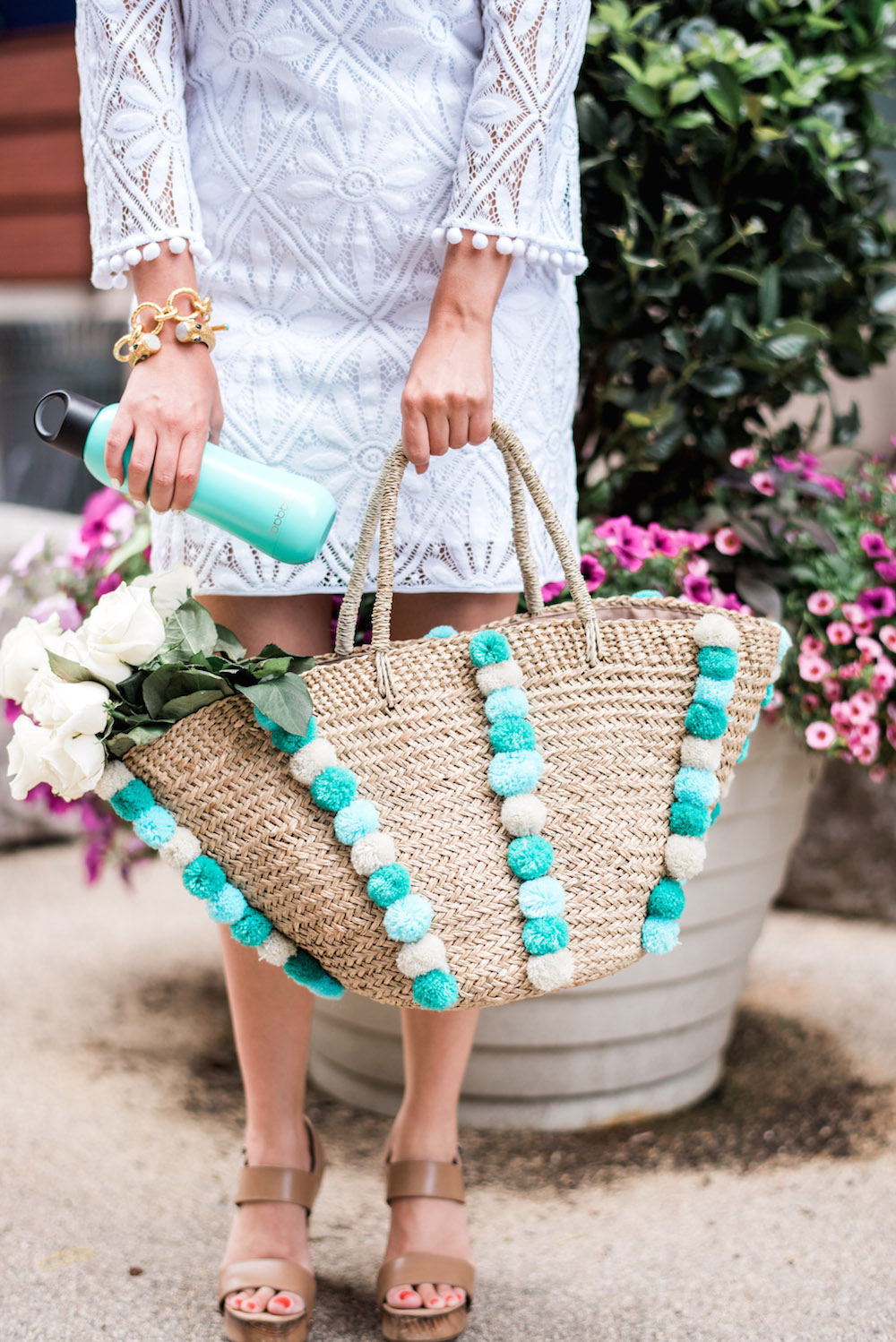Lilly Pulitzer Topanga Lace Dress | Bobble Water Bottle | Vince Solange Heels - Grace Atwood, The Stripe