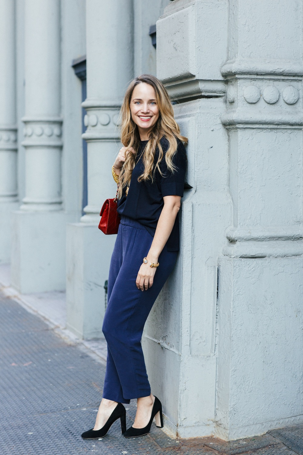 Grana Chinese Silk Pants + Silk/Cashmere Tee. Monochromatic Dressing, Navy Blue - Grace Atwood, The Stripe