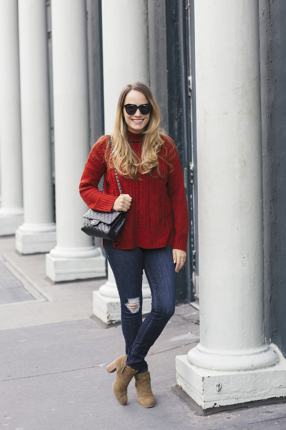 Sanctuary Turtleneck, Good American Jeans - A Cozy Winter Outfit Idea | Grace Atwood, The Stripe