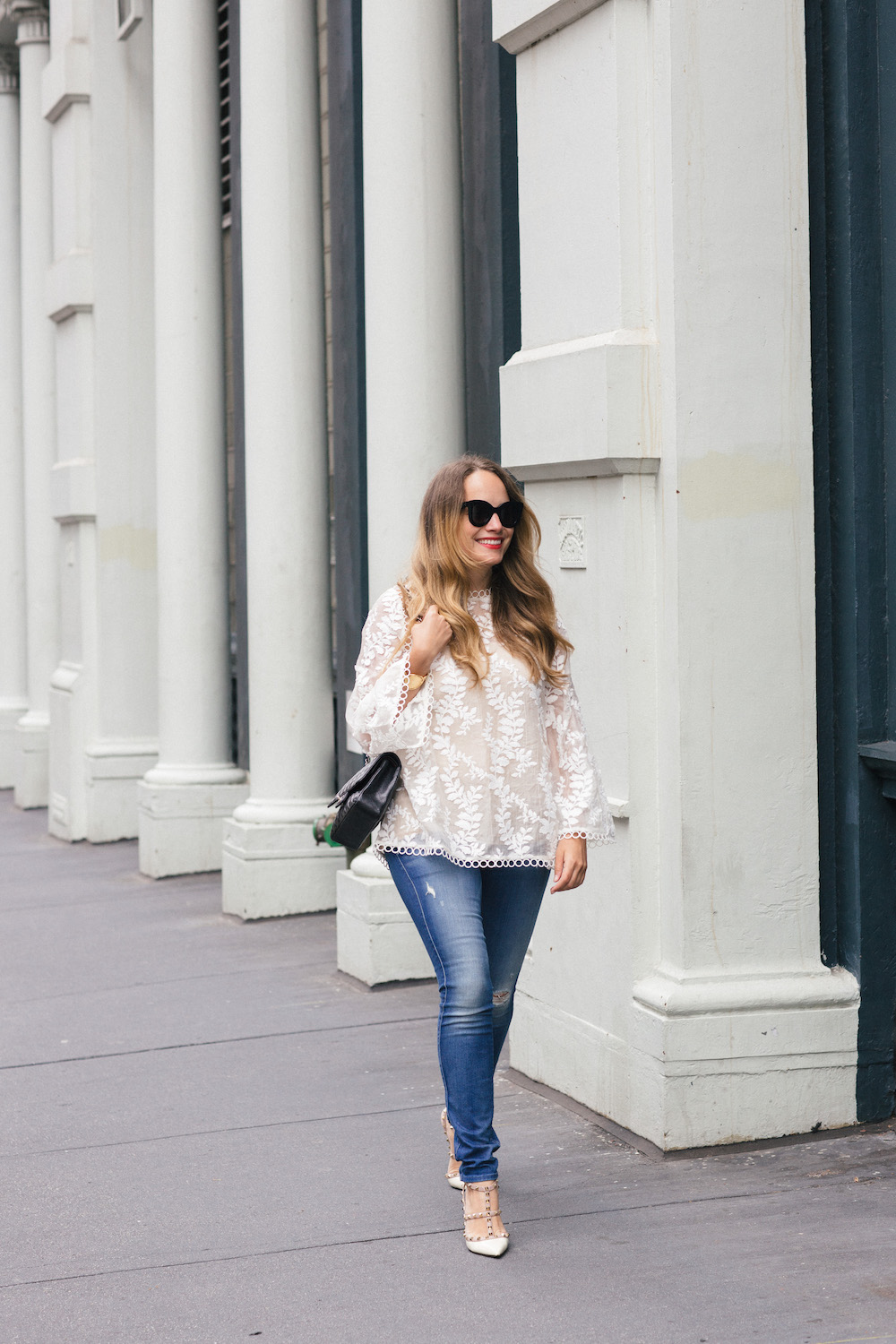 J.Crew Regent Topcoat // Zimmermann Lace Blouse // 7 for all Mankind Jeans // Valentino Rockstud Pumps | Grace Atwood, The Stripe
