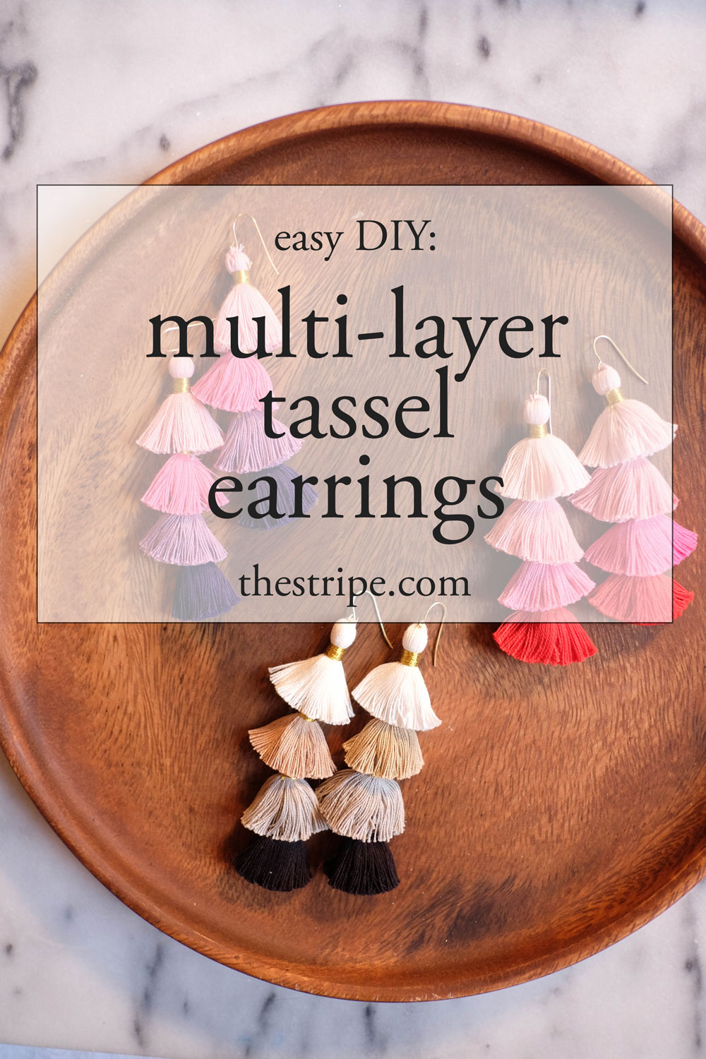 diy tassel earrings // the stripe blog: easy tutorial to create layered tassel earrings.