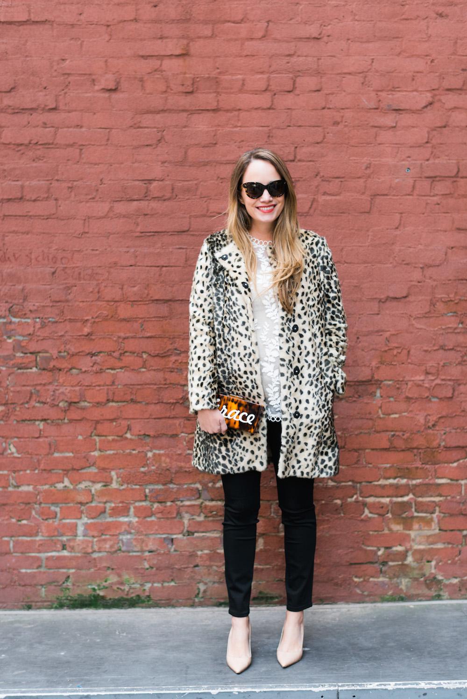 j. mclaughlin leopard coat // zimmermann winsome vine blouse // moon & lola calypso clutch - grace atwood | the stripe blog