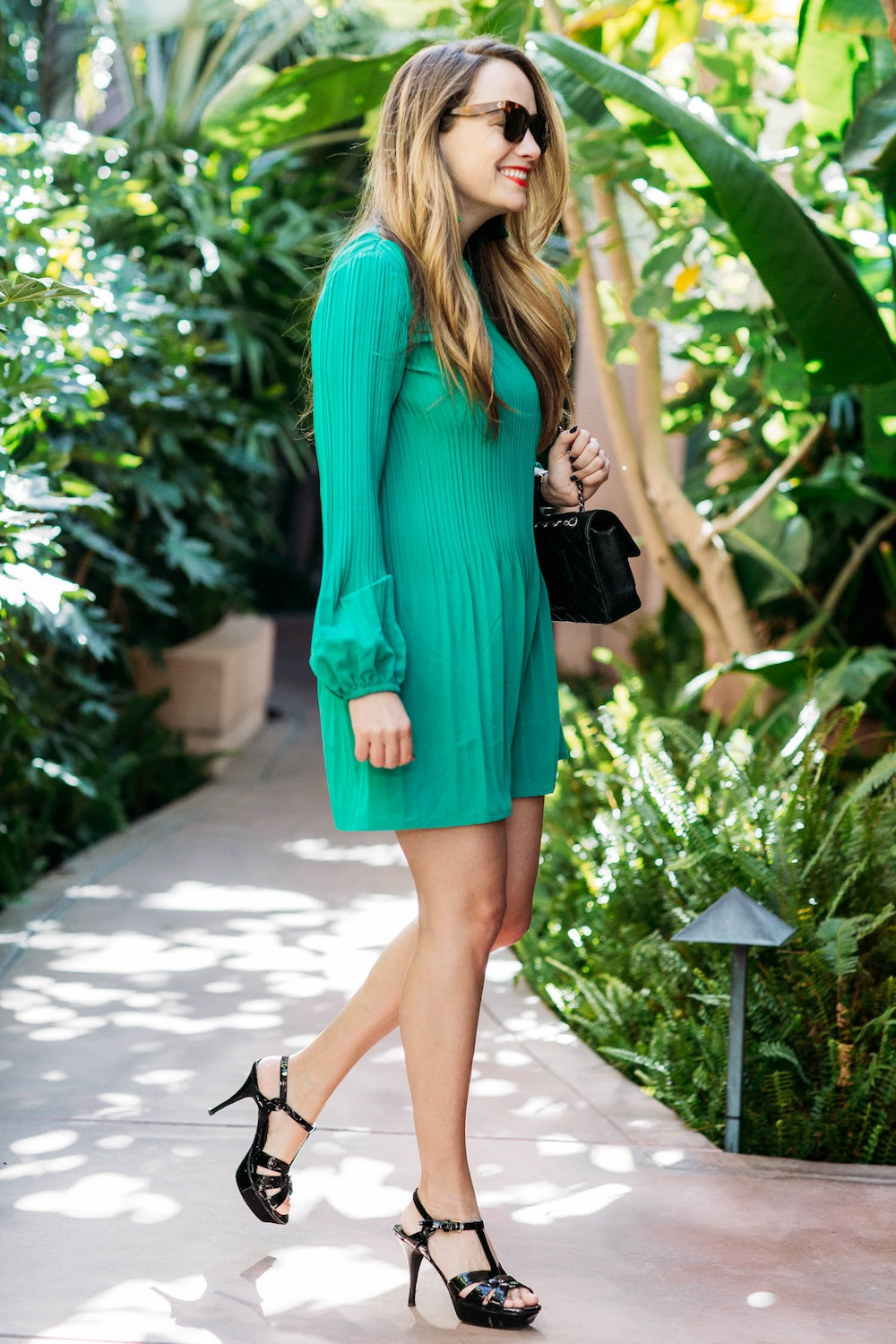 maje pleated crepe mini dress | the beverly hills hotel, grace atwood, the stripe