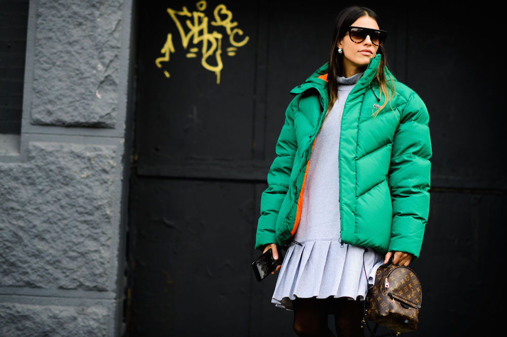 the best wearable nyfw street style of 2017 // puffer jacket over drop waist dress | the stripe blog