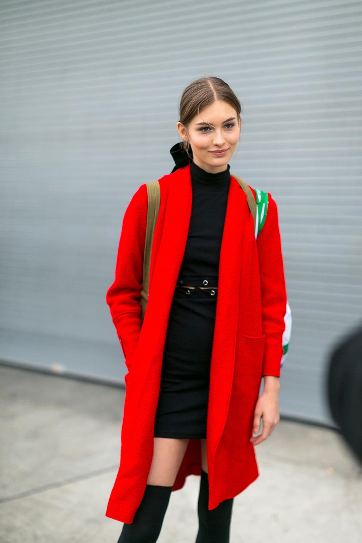 pretty red coat // wearable street style nyfw fall 2017 | the stripe