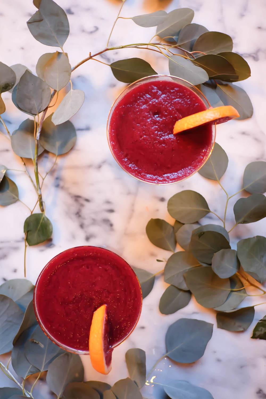 winter frosé recipe | lambrusco, blood orange, cantaloupe - the stripe blog