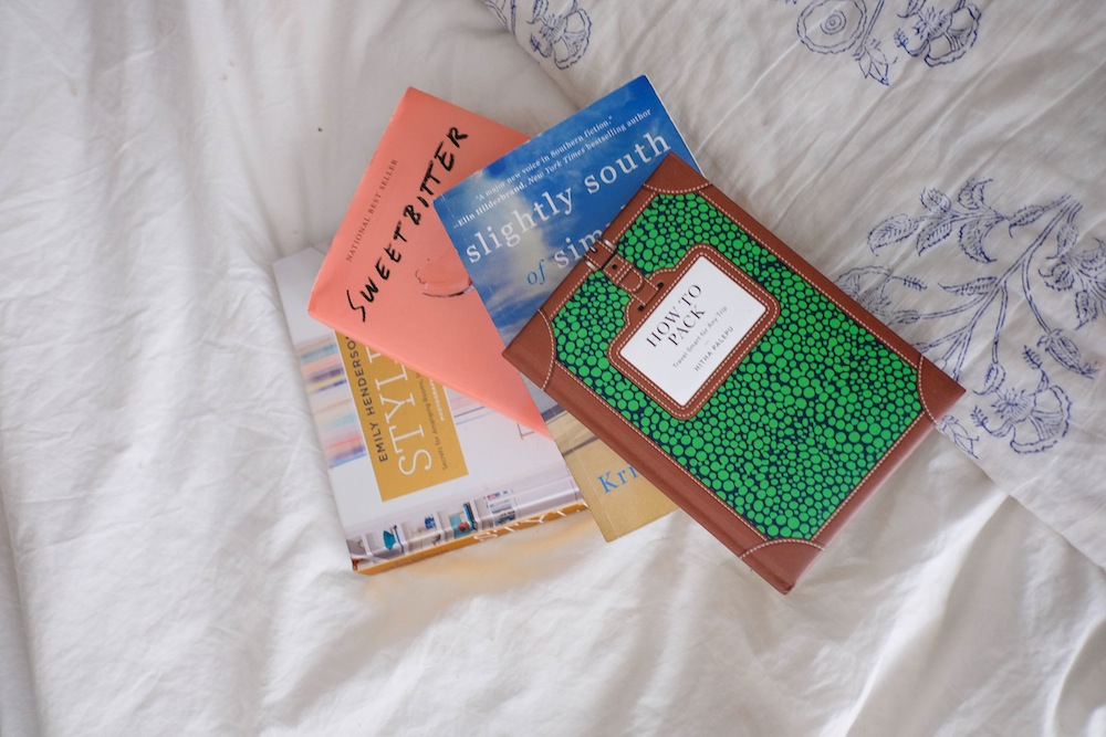 april reading list | the stripe (sweetbitter book review, slightly south of simple, styled by emily henderson, how to pack)