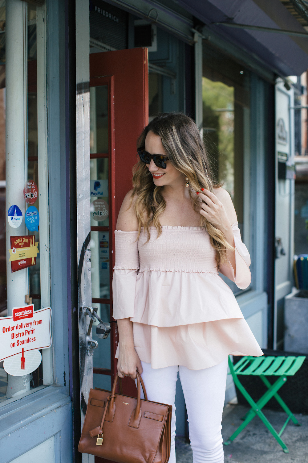 pink off the shoulder top | the stripe