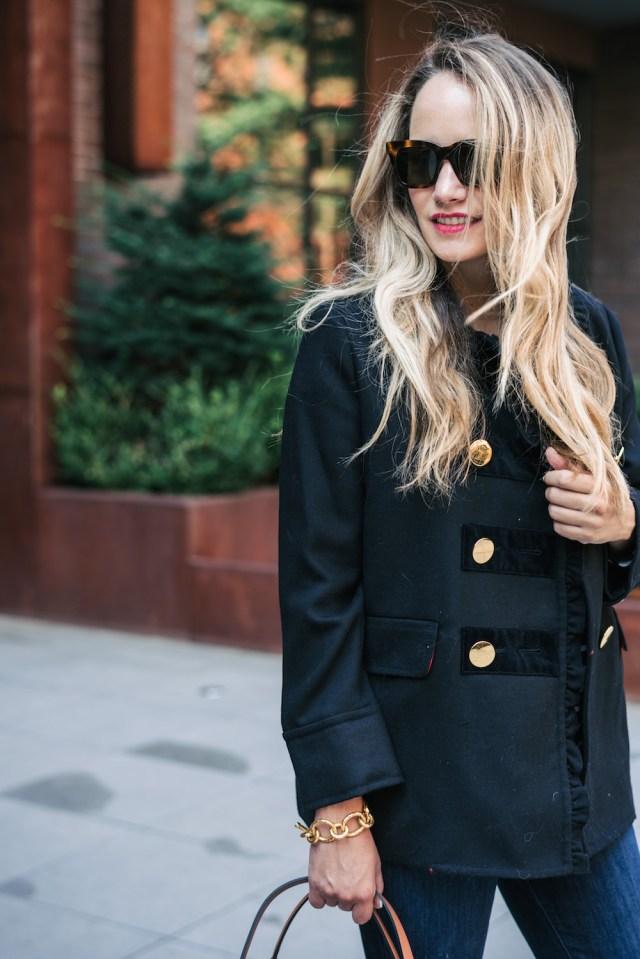 kate spade ruffle velvet trim coat | the stripe
