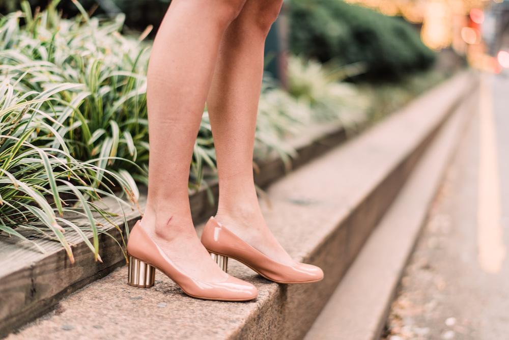 Shoshanna Lace Dress, Salvatore Ferragamo Rounded Toe Flower Heel Pump | Grace Atwood, The Stripe