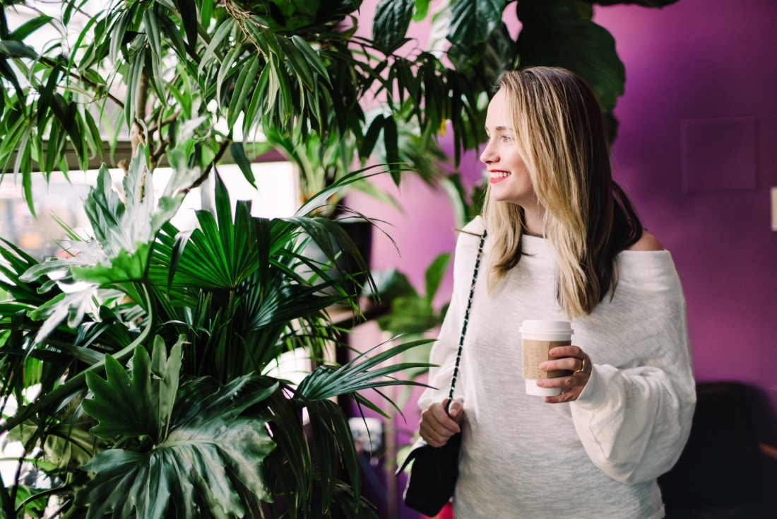free people off the shoulder sweater at Kinfolk Coffee in Williamsburg Brooklyn   Grace Atwood, The Stripe