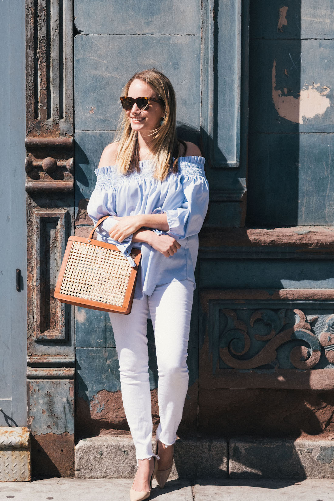 caroline constas off-the-shoulder top, 7 for all mankind white jeans, palmgrens rattan bag | grace atwood, the stripe