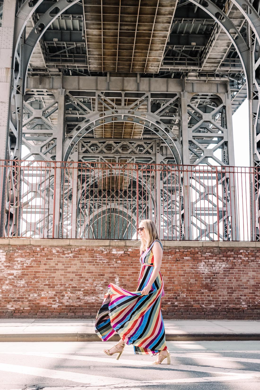aqua rainbow striped maxi wrap dress | grace atwood, the stripe