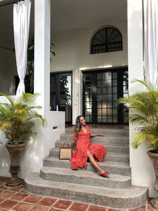 grace atwood wears a ganni wrap dress in mexico