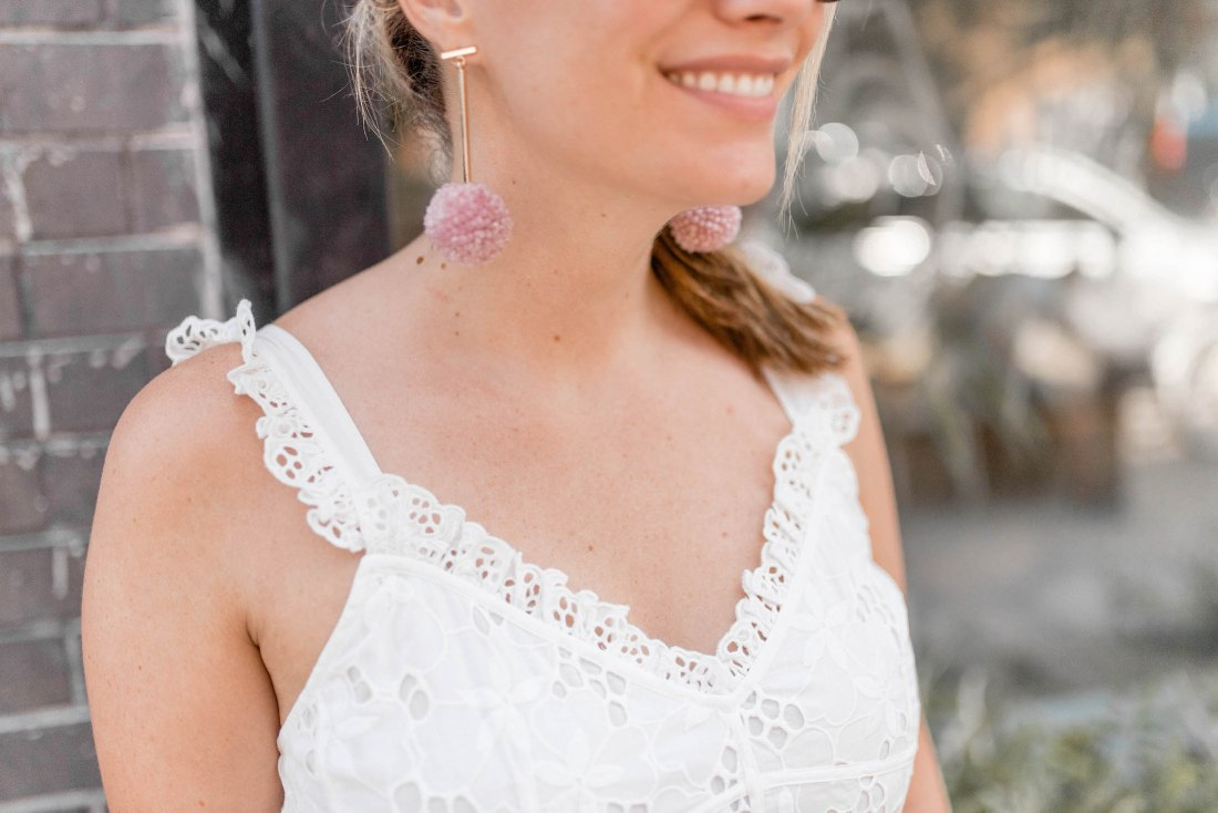 "1"" Rosy Cheeks Pom Pom T Bar Earrings - Tuleste from New York, NY"