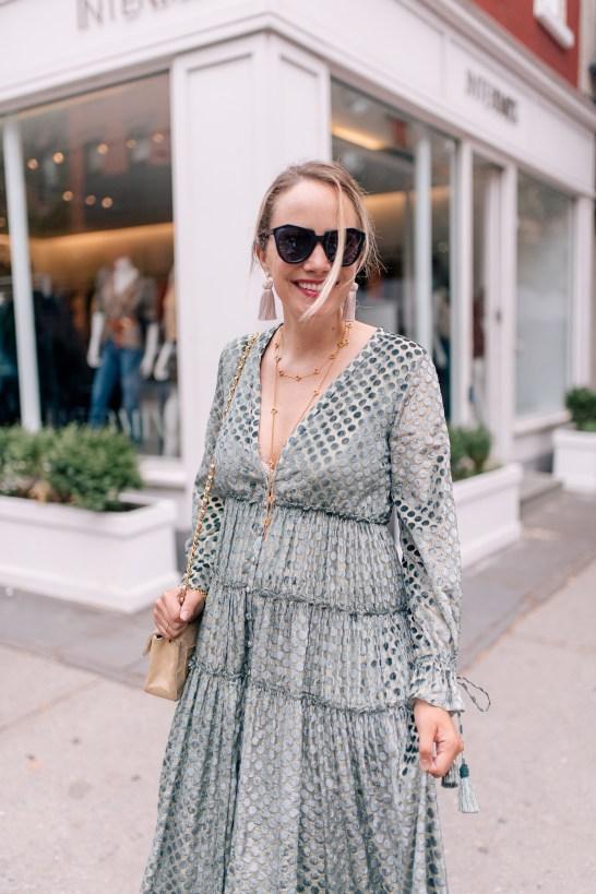 Rococo Sand Dress // Chanel Purse // Julie Vos Necklaces // Julie Vos Cuff // Hart Tassel Earrings / Karen Walker Sunglasses