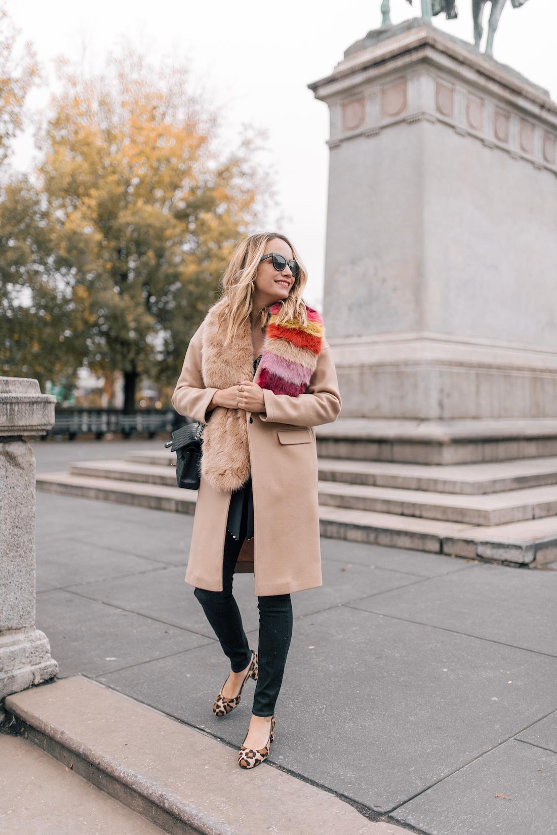 Outfit Details:Rixo London Sequin Top(size up!) //Paige Jeans //Topshop Coat(on sale!!) //Zara Faux Fur Scarf //Margaux Leopard Heels //Polaroid Sunglasses