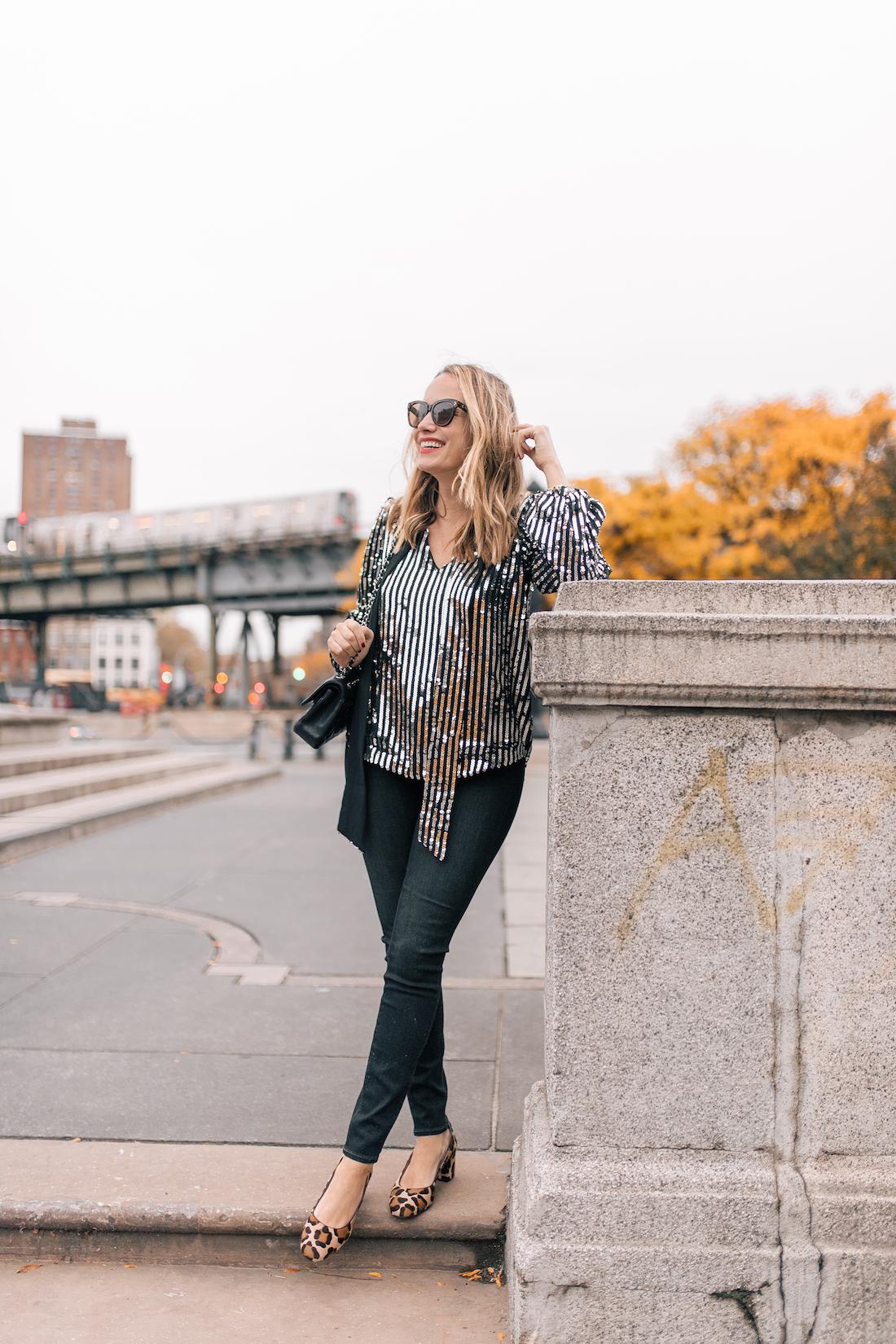 Outfit Details:Rixo London Sequin Top(size up!) //Paige Jeans /