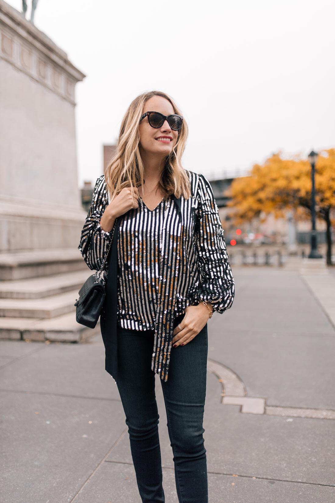 Outfit Details:Rixo London Sequin Top(size up!) //Paige Jeans //Polaroid Sunglasses