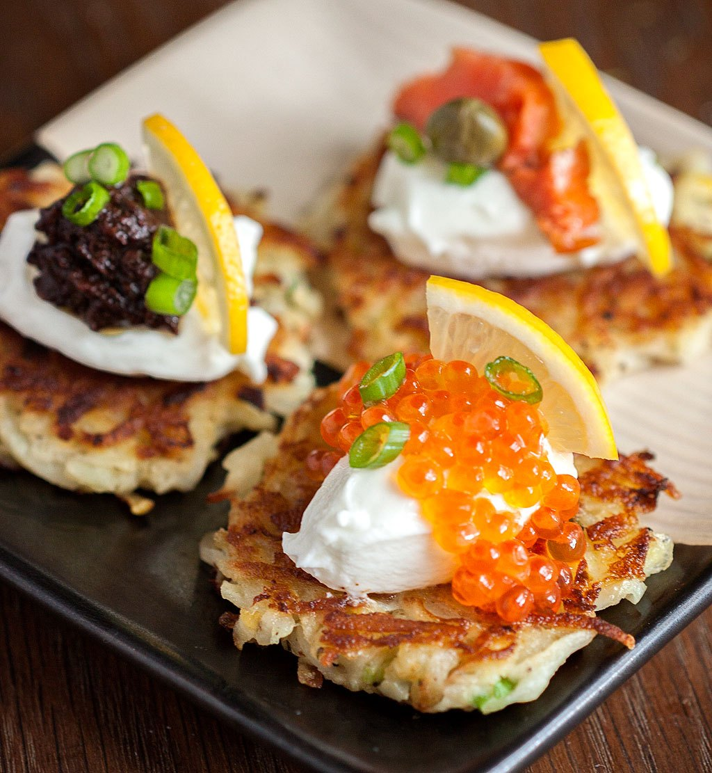 the best make ahead appetizers   potato apple pancakes with caviar and creme fraiche.