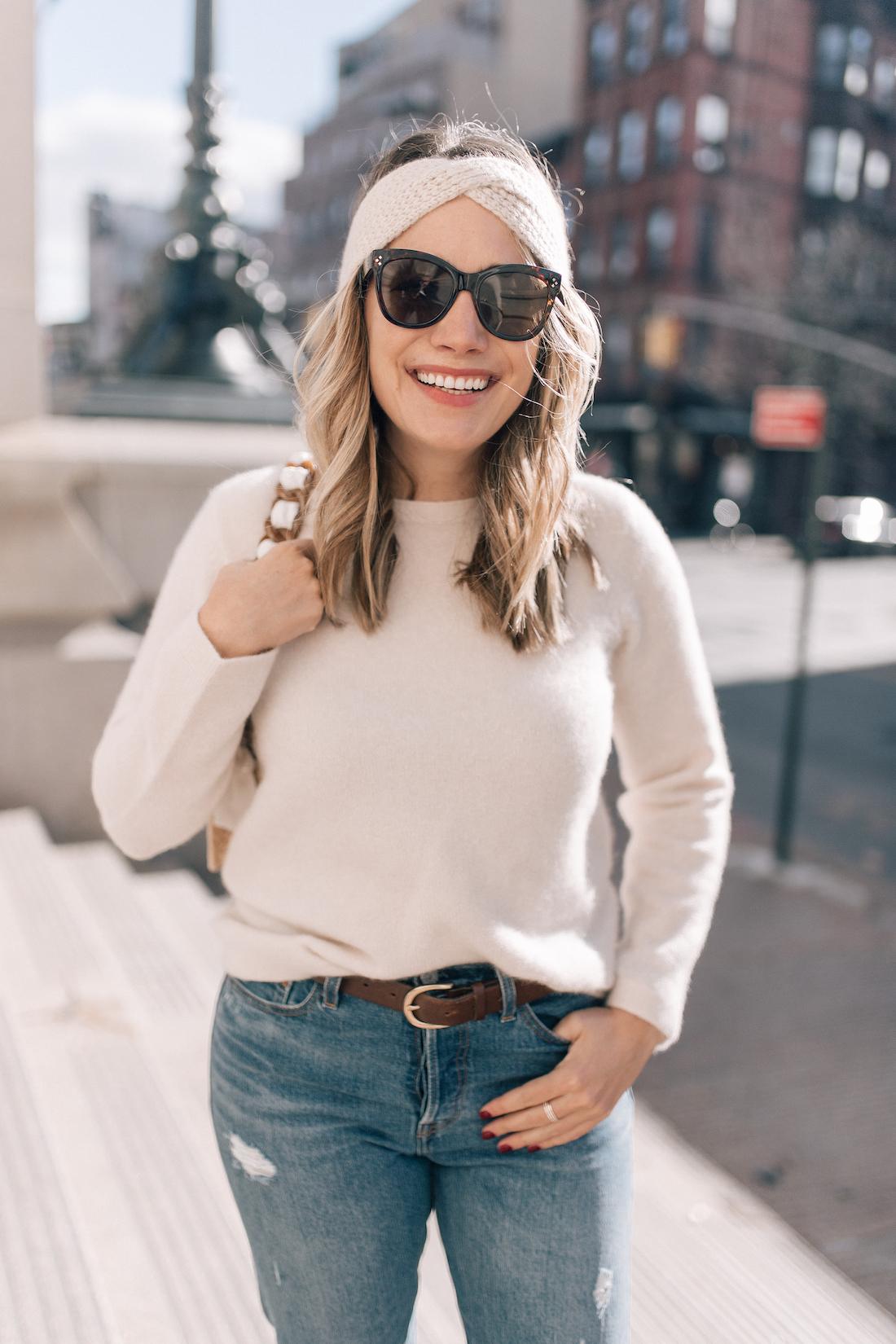 Outfit Details:Topshop Coat(exact) // Eileen Fisher Sweater(c/o) // Eileen Fisher Headband (c/o)// Levi's Jeans // Polaroid Sunglasses // J.Crew Belt