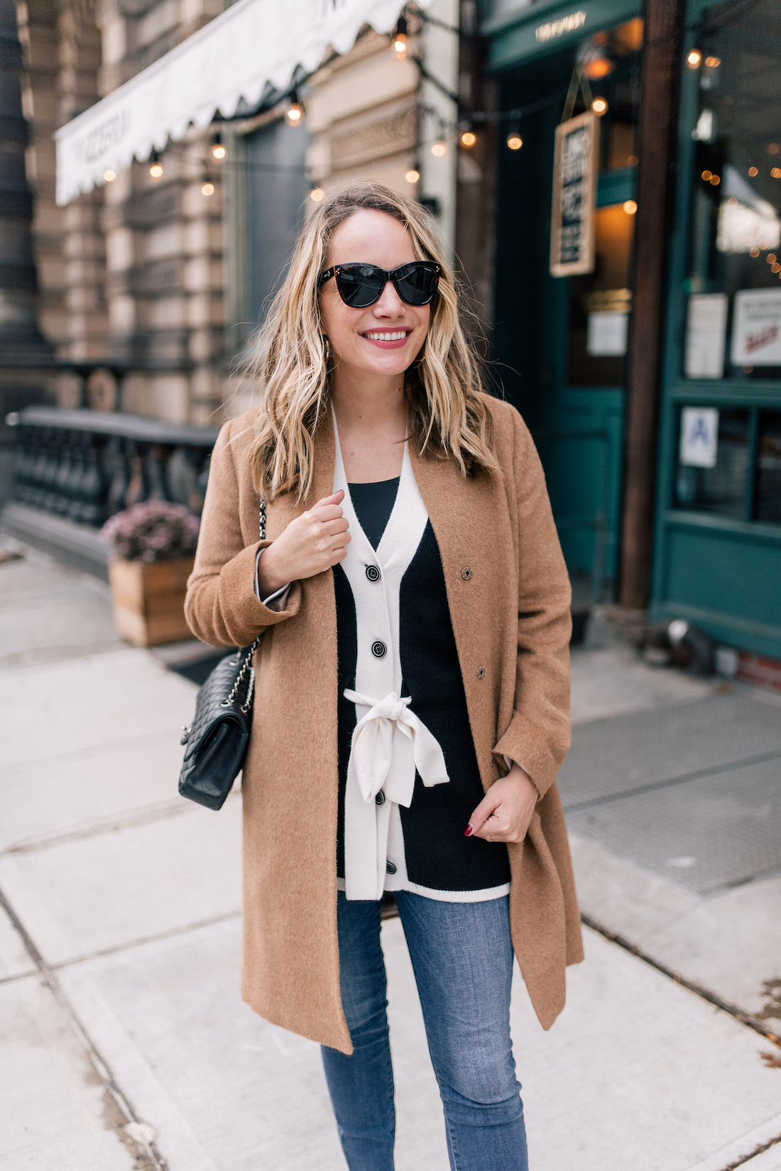 Outfit Details: Eileen Fisher Coat // White & Warren Cardigan // Good American Jeans