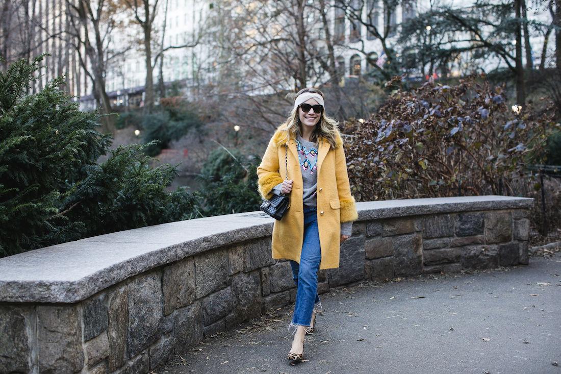 Grace Atwood:Kate Spade Coat // Zara Sweater // Re/Done Denim // Margaux Heels // Eileen Fisher Headband // Chanel Bag // Polaroid Sunglasses
