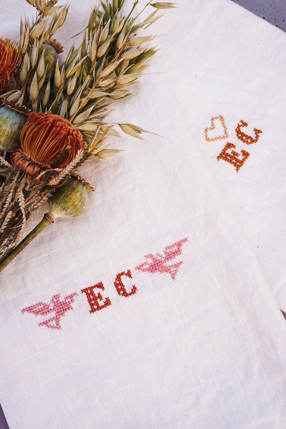DIY Cross Stitch Embroidery Tea Towel