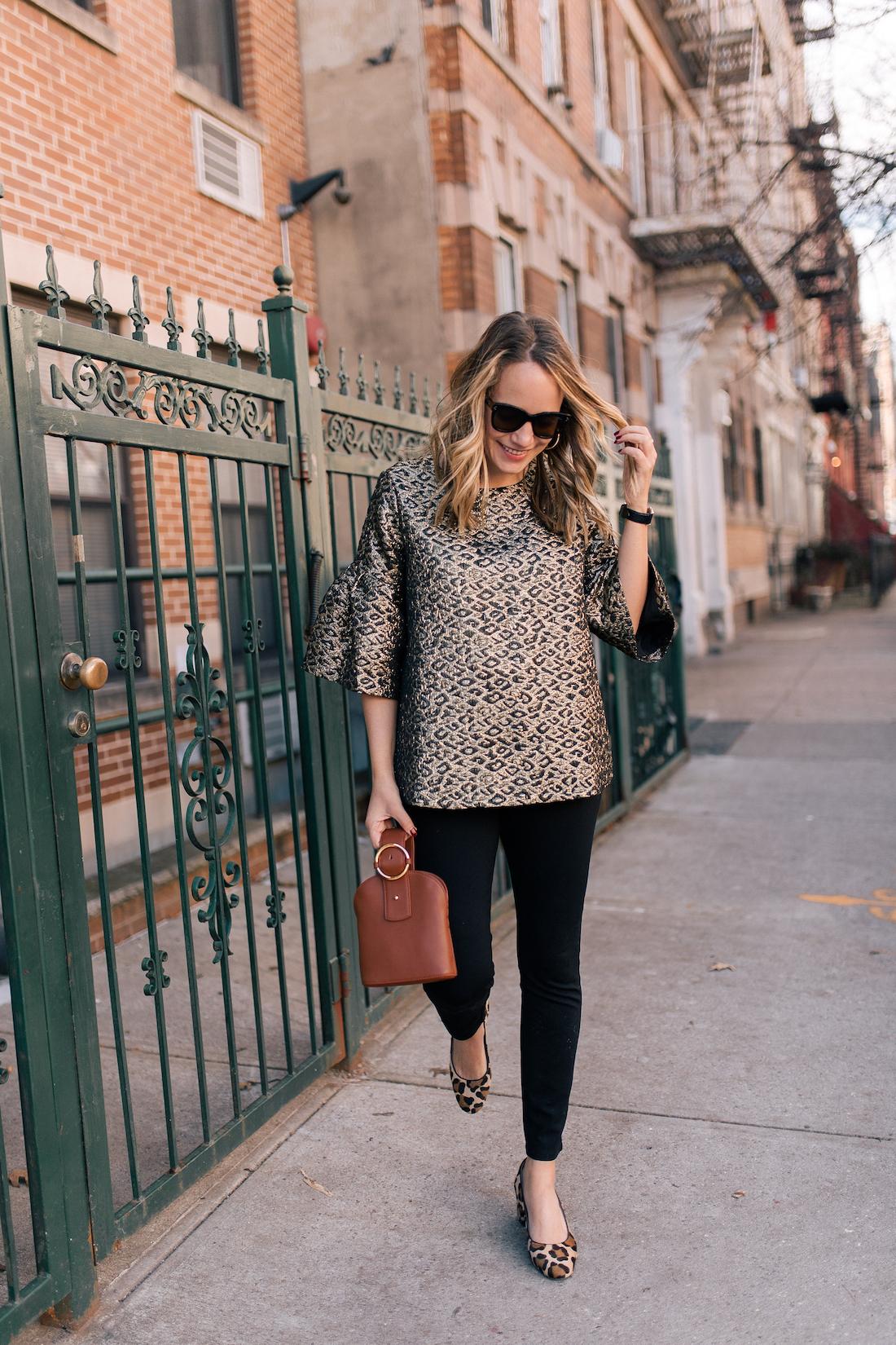 Madewell Coat // Tuckernuck Top(c/o) // NYDJ Leggings // Margaux Heels// Polaroid Sunglasses // Parisa Wang Bag(c/o)