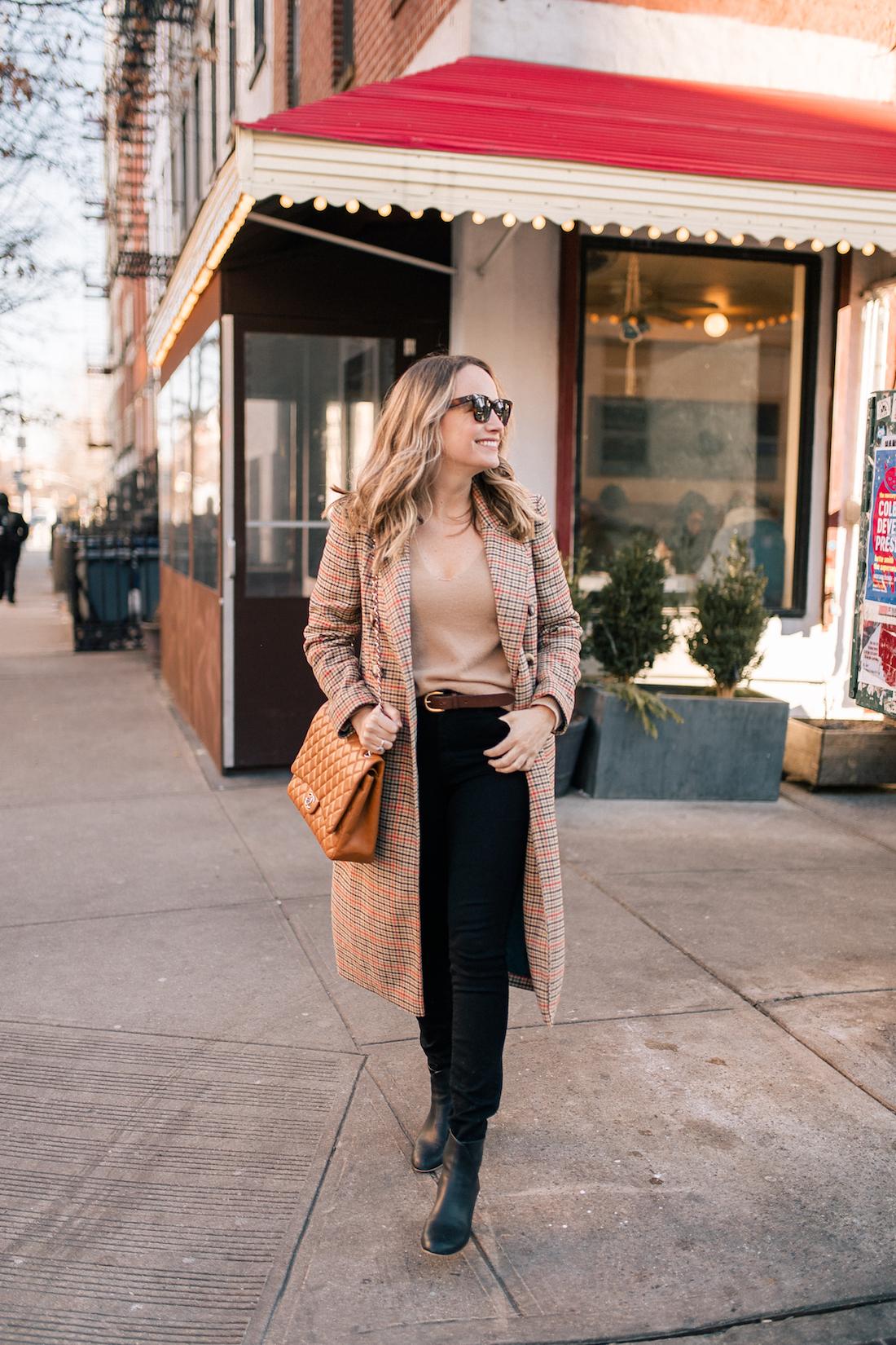 Grace Outfit Details:Topshop Coat // Theory Cashmere Sweater // Paige Jeans // Celine Sunglasses // J.Crew Belt // Soludos Boots // Chanel Purse