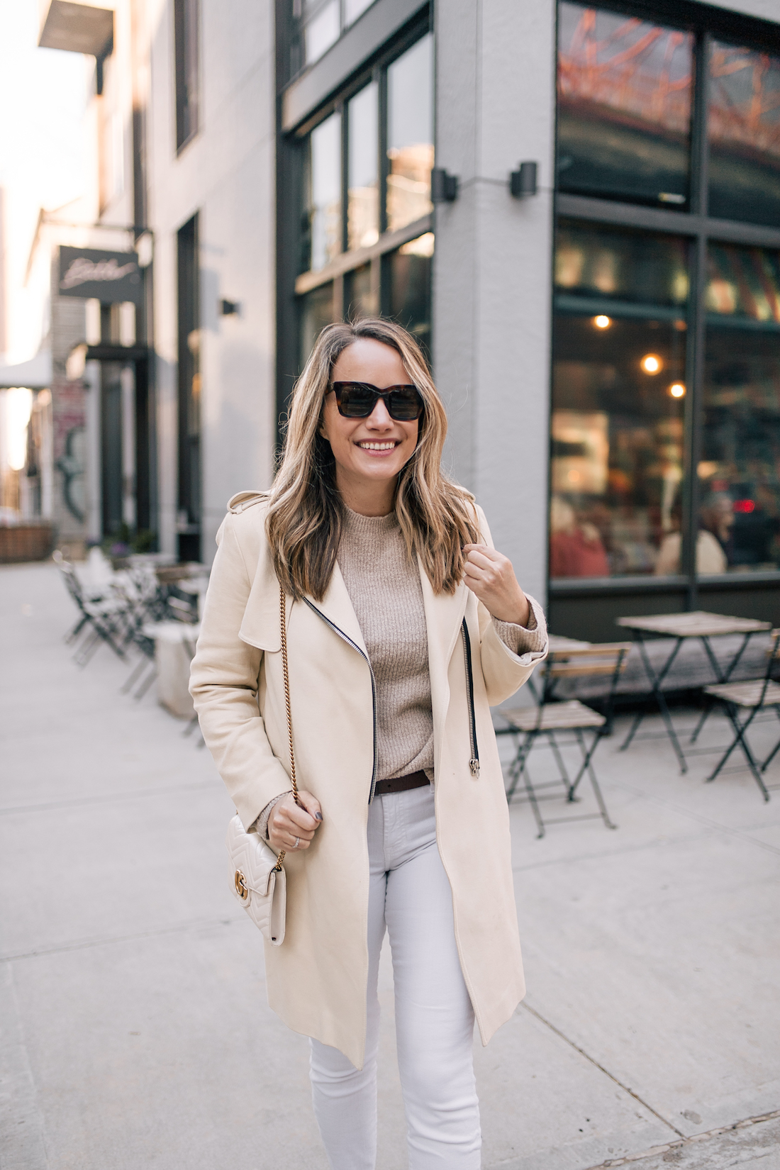 Outfit Details: Sandro Coat // ASOS Sweater // 7 for all Mankind Jeans // J.Crew Belt // Celine Sunglasses // Gucci Purse