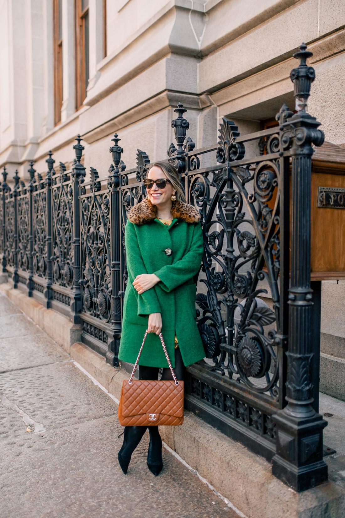 Grace Atwood's Outfit Details: L.K. Bennett Coat // Express Tights // Manolo Blahnik Pumps // Chanel Purse // Polaroid Sunglasses // Tuckernuck Earrings