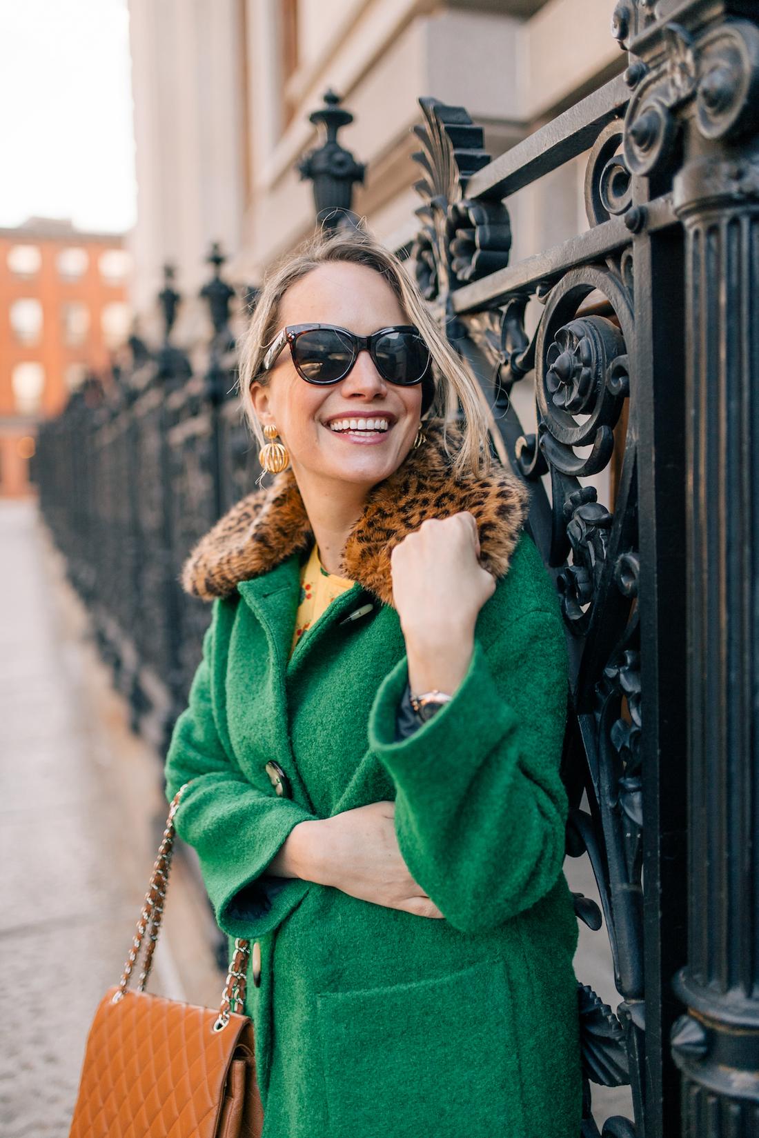 Grace Atwood's Outfit Details: L.K. Bennett Coat // Polaroid Sunglasses // Tuckernuck Earrings