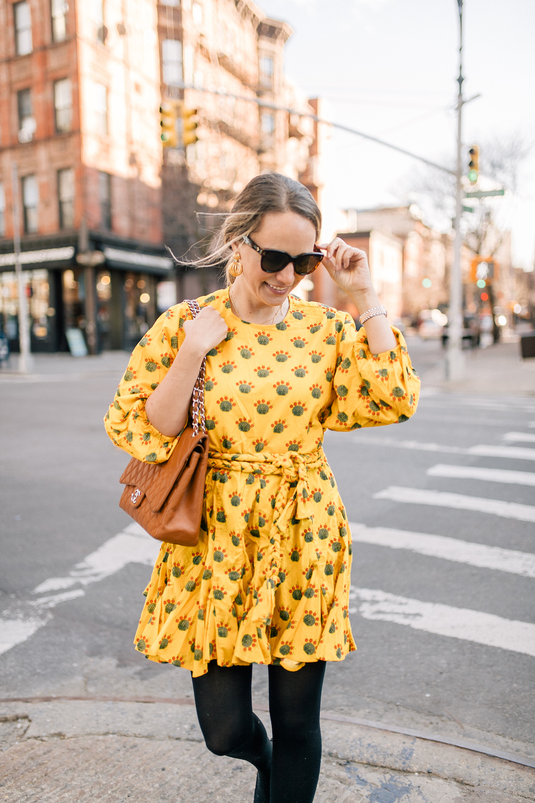 yellow summer dress and Chanel bag