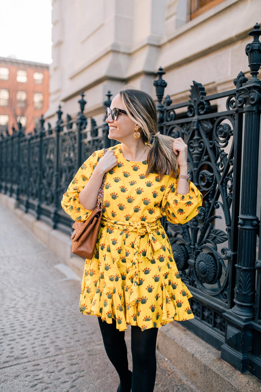 Yellow Rhode Resort Ella Dress // Express Tights // Chanel Purse