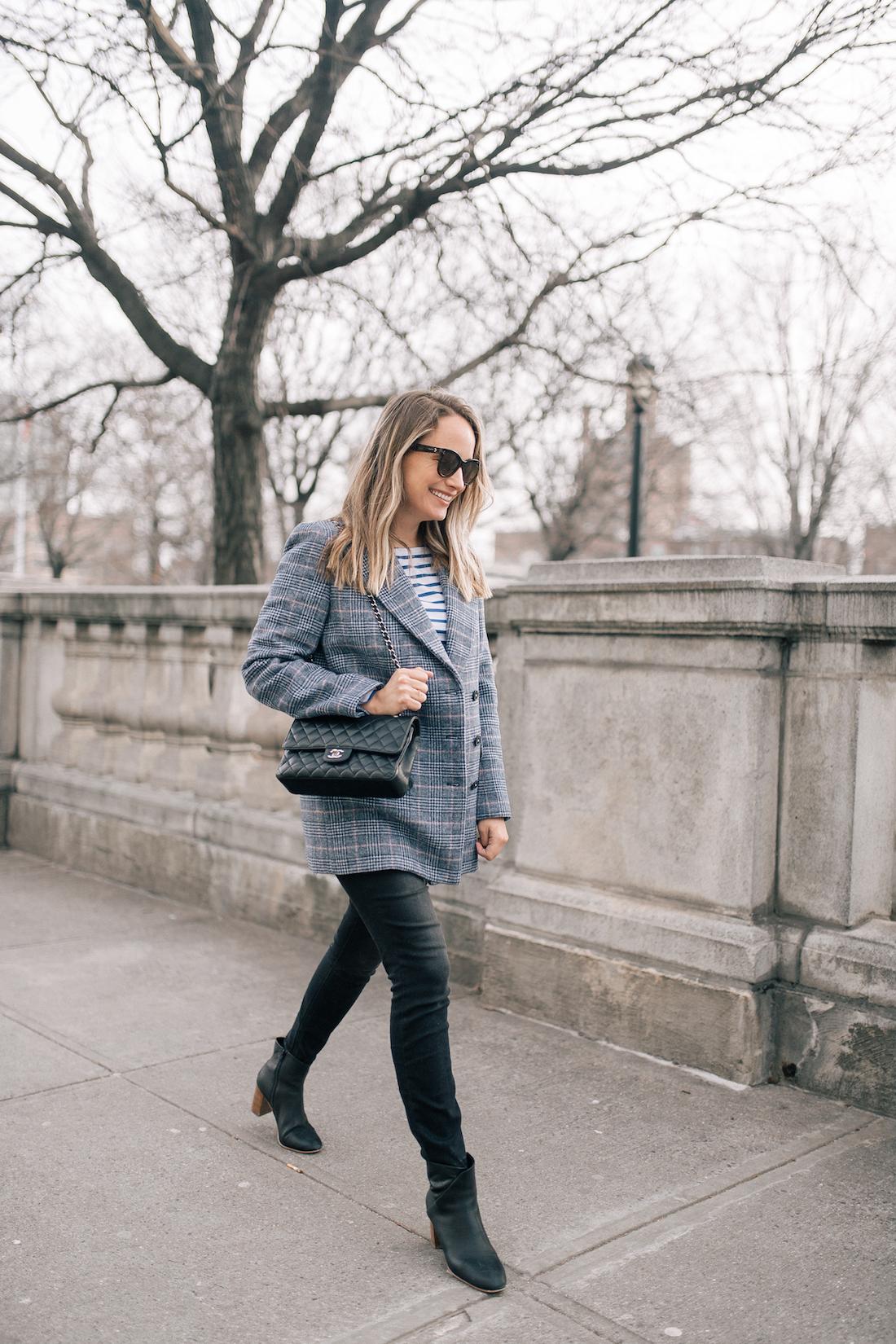 "GRACE ATWOOD OUTFIT DETAILS: La Vie Rebecca Taylor Coat // Saint James Tee // Paige Jeans // Gucci Belt // Soludos Boots // Polaroid Sunglasses // Lipstick: Charlotte Tilbury in ""Bitch Perfect"""