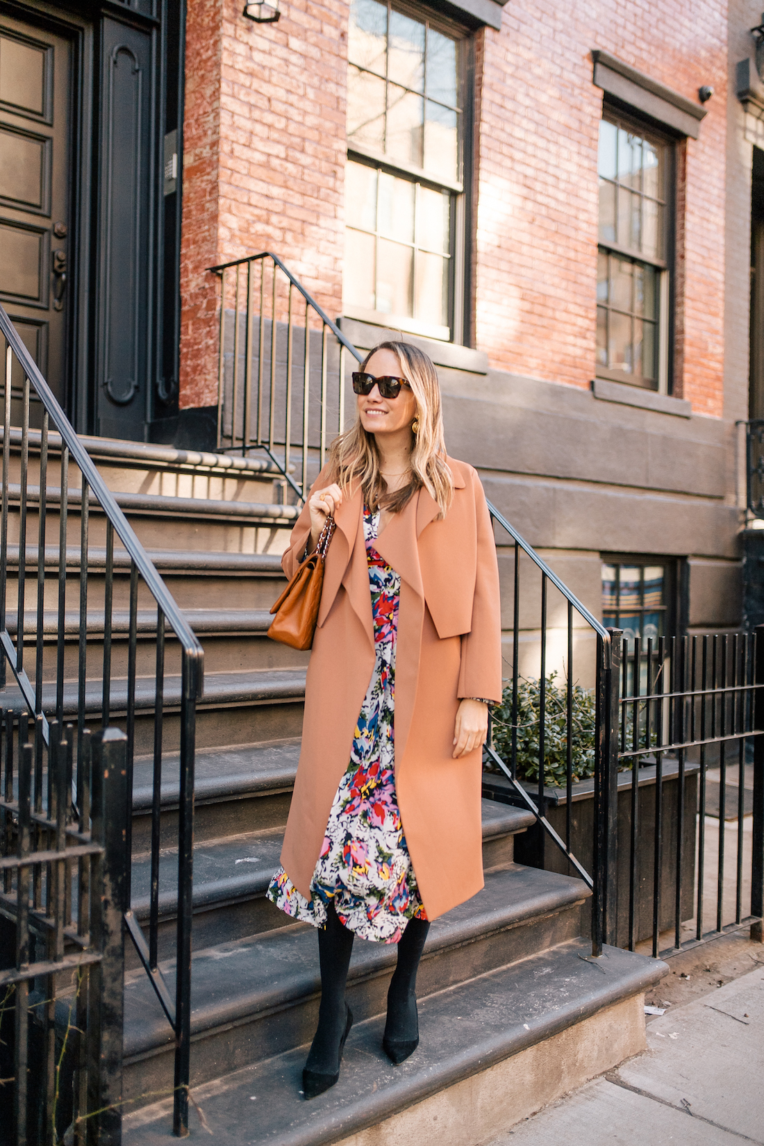 The Stripe's Outfit Details: Malene Birger Coat // Rixo Floral Dress // Express Tights // Manolo Blahnik Heels // Chanel Purse // Celine Sunglasses // Tuckernuck Birdcage Earrings