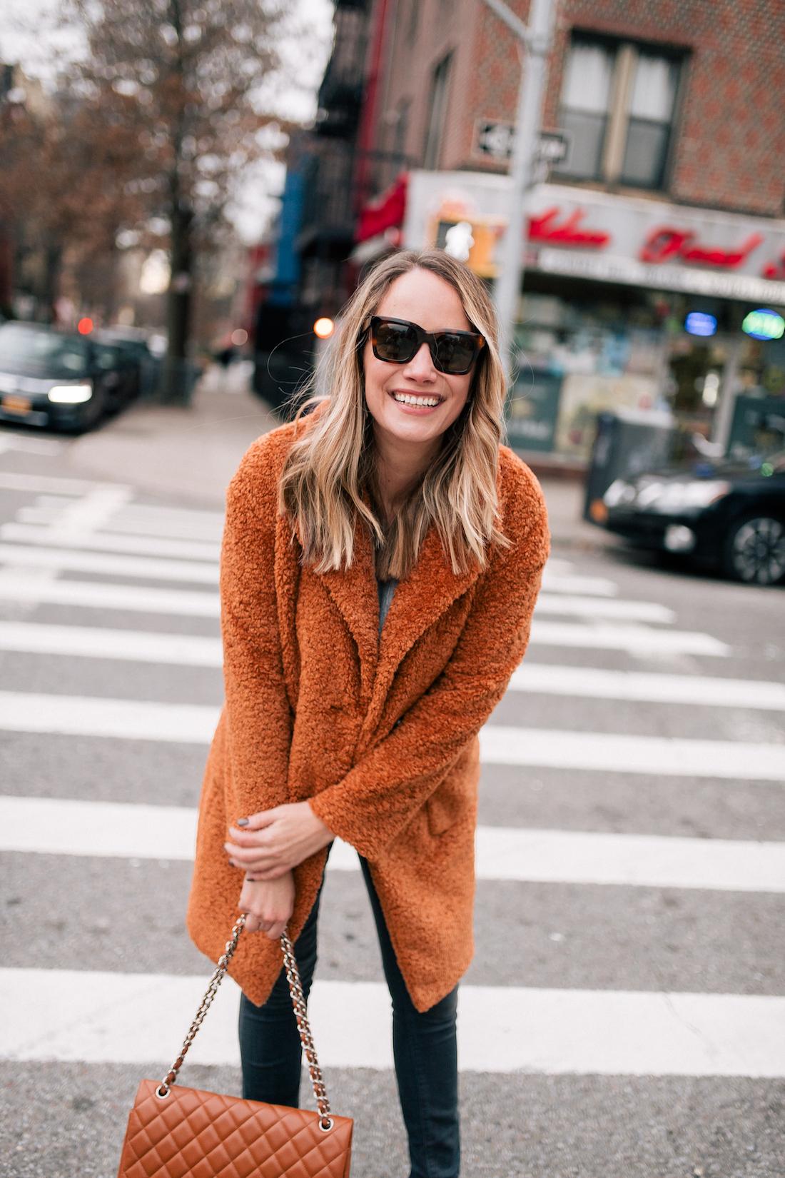 Outfit Details:Atlantic-Pacific x Halogen Teddy Coat // Paige Jeans // Chanel Bag // Celine Sunglasses