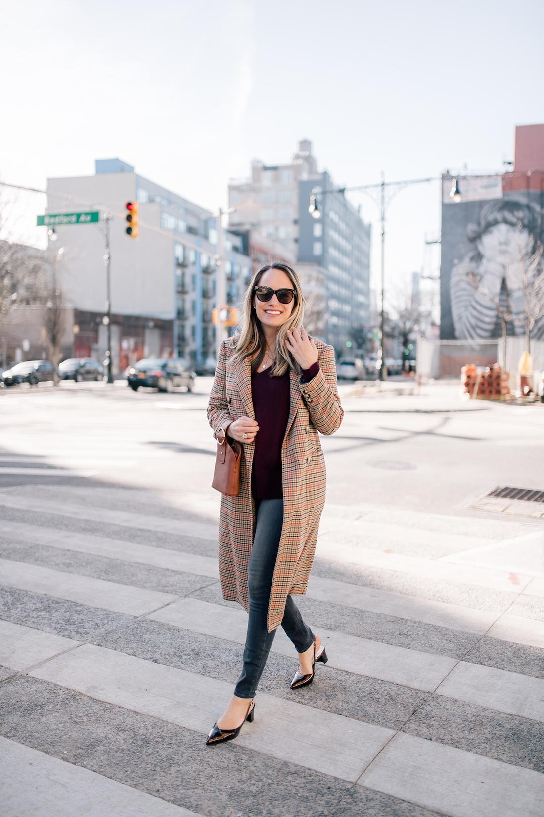 Grace's outfit details: Topshop Coat // Halogen Cashmere Sweater // Paige Jeans // gifted Sarah Flint Tortoise Slingbacks // Estee Lalonde x Daisy Jewellery Necklaces // Parisa Wang Bracelet Bag
