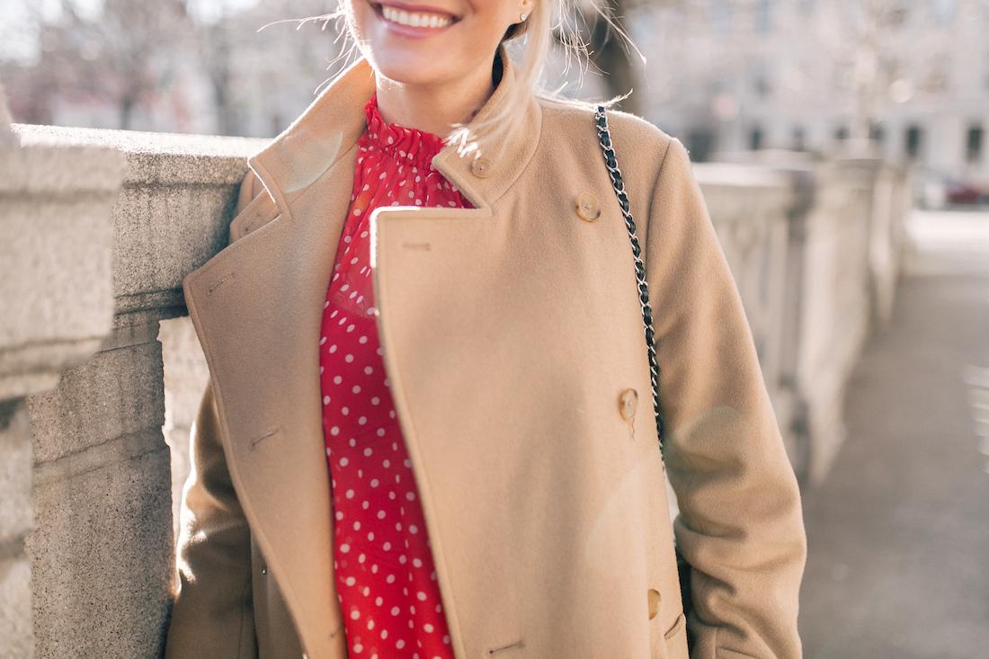 Outfit Details: Vince Camel Coat // Zimmermann Polka Dot Top