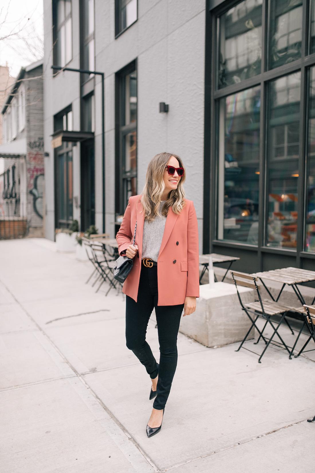 Outfit Details: Theory Blazer // Eileen Fisher Sweater // Good American Jeans // Gucci Belt // Sarah Flint Heels // Karen Walker Sunglasses // Chanel Purse