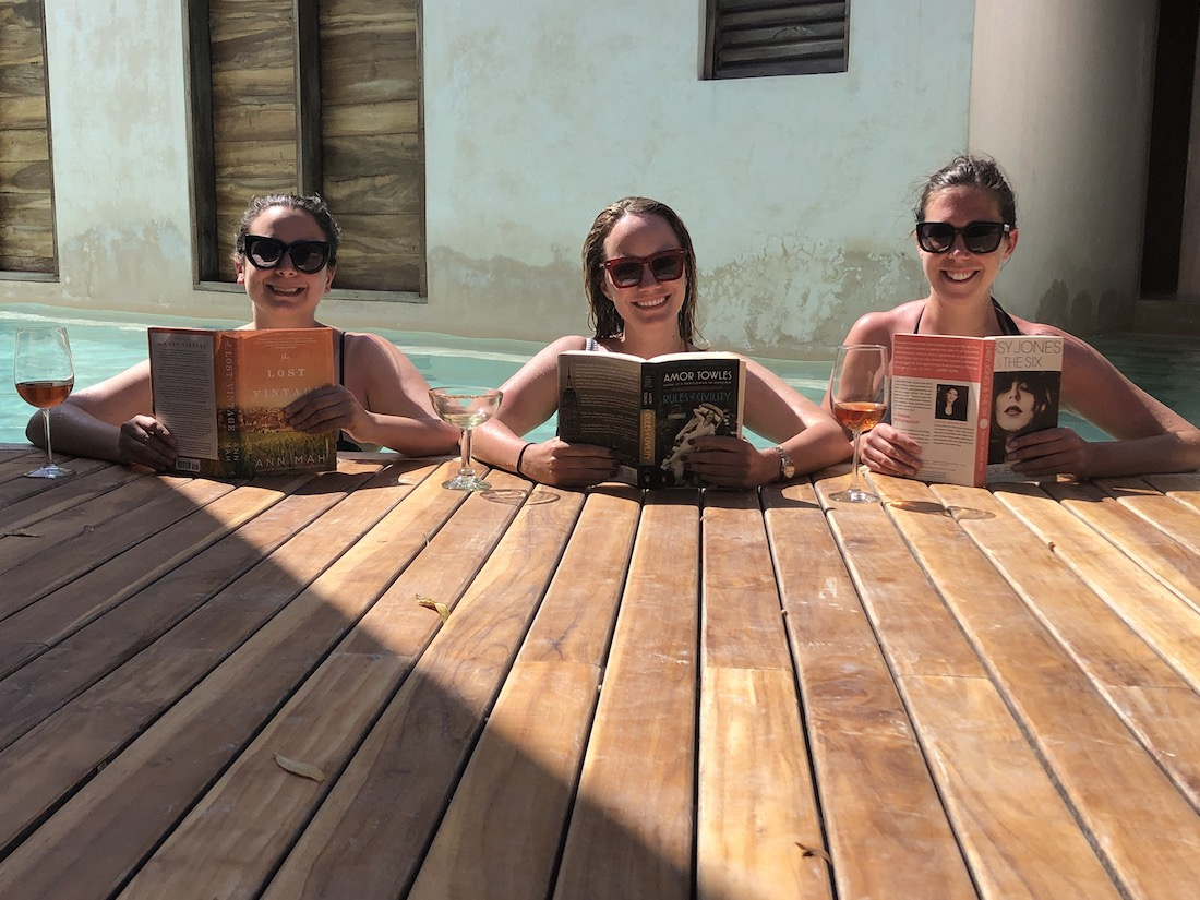 Grace and her friends at Punta Caliza, Isla Holbox