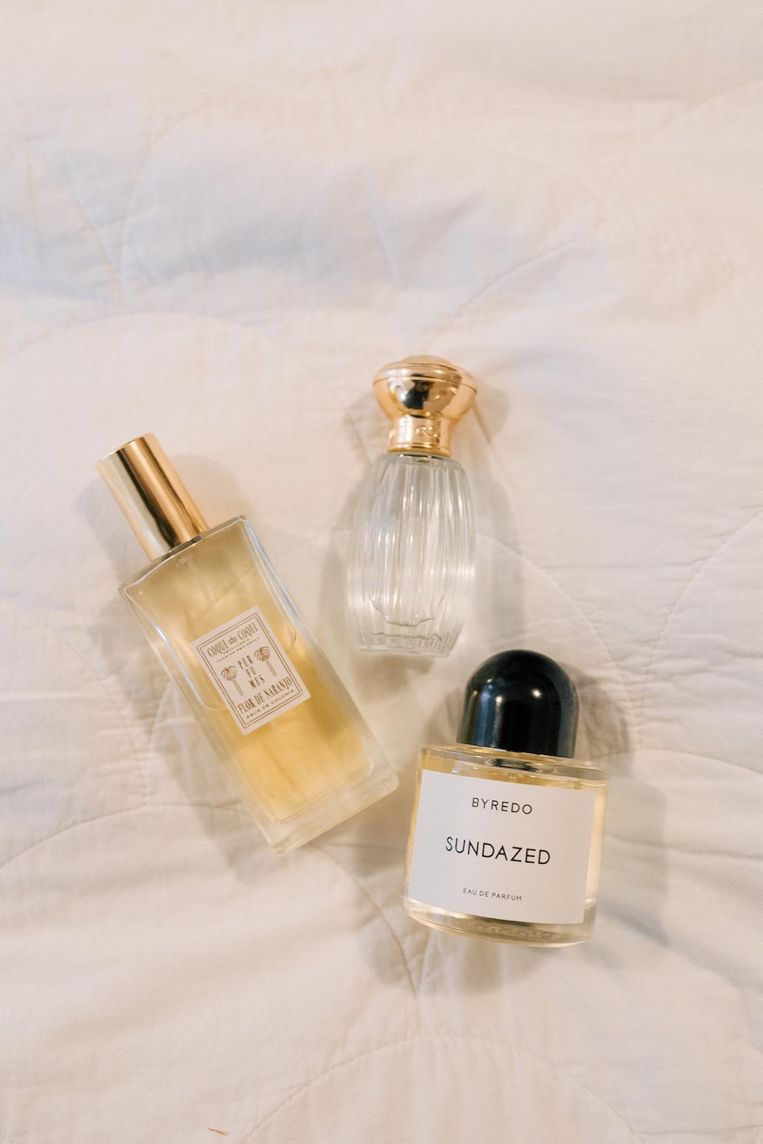 3 of my favorite spring fragrances: Byredo Sundazed, Coqui Coqui Orange Blossom, Goutal Petite Cherie