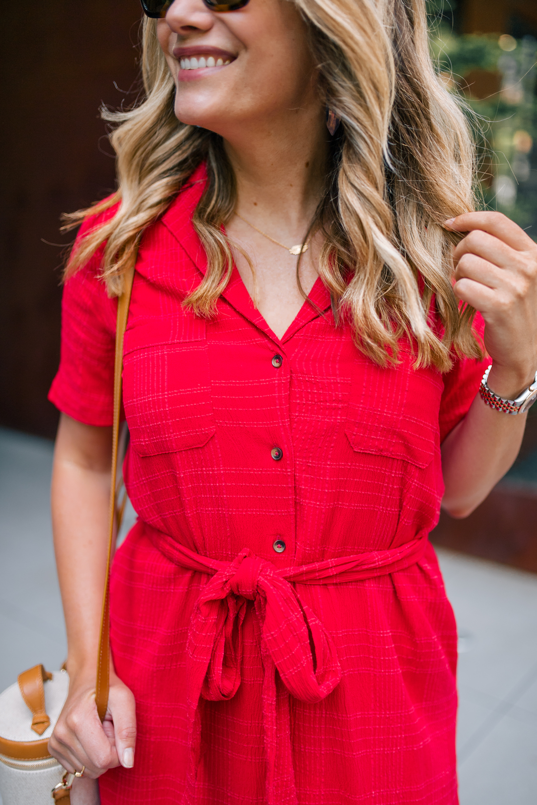 Grace Atwood's Details: Red Anthropologie Dress // Paravel Bag // Estee Lalonde x Daisy Jewellery Necklace